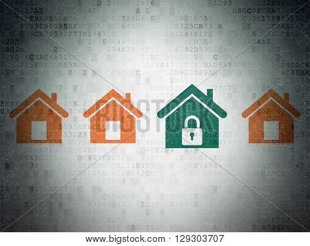 Safety concept: row of Painted orange home icons around green home icon on Digital Data Paper background
