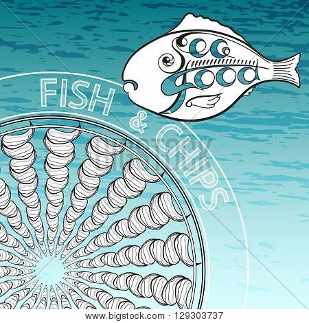 Silhouette of fish with handwritten word Seafood. Vector illustration Fish and Chips on  aquamarine background.