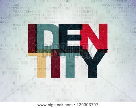 Privacy concept: Painted multicolor text Identity on Digital Data Paper background