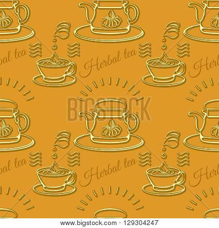 Herbal tea theme seamless pattern with silhouette cups and tea-pots on orange background.