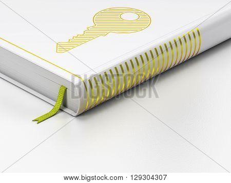Security concept: closed book with Gold Key icon on floor, white background, 3D rendering