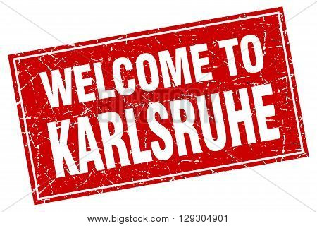 Karlsruhe red square grunge welcome to stamp