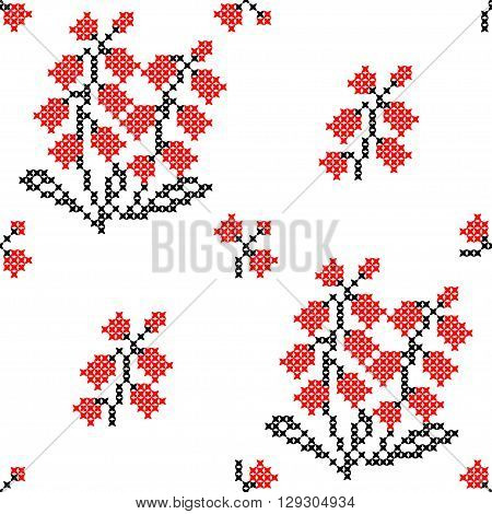 Seamless texture of abstract flat red black flowers.Lily of the valley