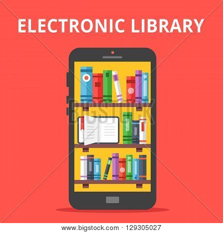 Online library on mobile phone screen. Flat illustration. Electronic library concept. Modern flat design concepts for web banners, web sites, printed materials, infographics. Vector illustration