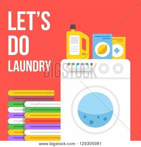 Laundry flat illustration. Washing machine, clothes, laundry detergent, wash powder, fabric softener icons set. Vector illustration isolated on red background