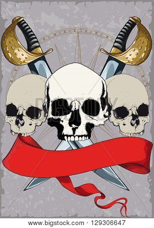 Pirate Poster with skulls, crossed swords and red ribbon on grunge background
