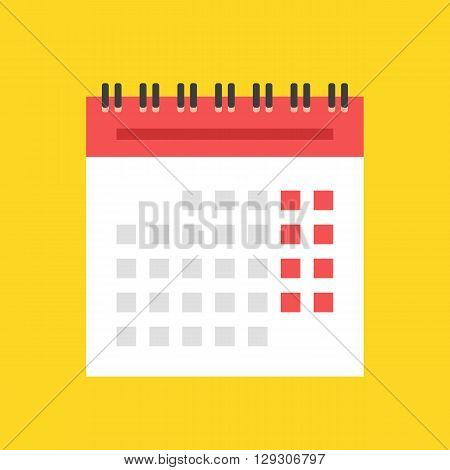 Calendar flat icon. European version. Spiral wall calendar vector illustration
