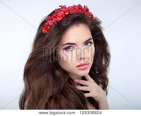 Beauty Woman With Chaplet, Face Portrait. Beautiful Girl Model With Makeup. Brunette Female Looking