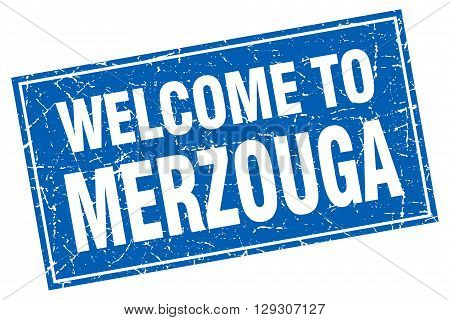 Merzouga blue square grunge welcome to stamp