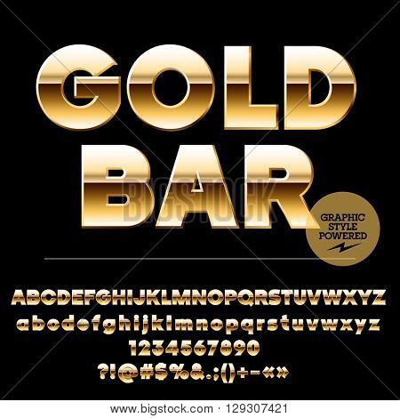 Vector set of chic gold alphabet letters, numbers and punctuation symbols. Sans ultra bold style
