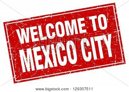 Mexico City red square grunge welcome to stamp