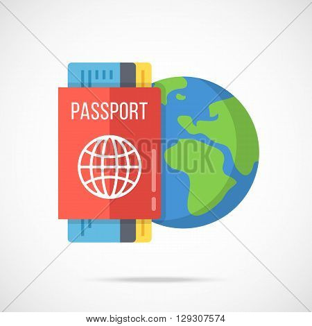 Vector passport, boarding pass and planet Earth icon. Traveling abroad, vacation, journey around the world, visa, citizenship concepts. Flat design vector illustration isolated on gradient background