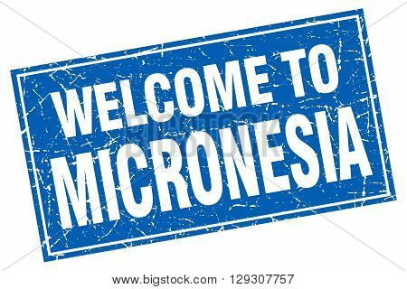 Micronesia blue square grunge welcome to stamp