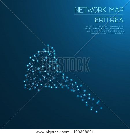 Eritrea Network Map. Abstract Polygonal Map Design. Internet Connections Vector Illustration.