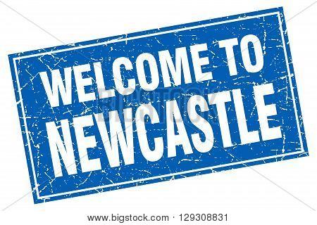 Newcastle blue square grunge welcome to stamp