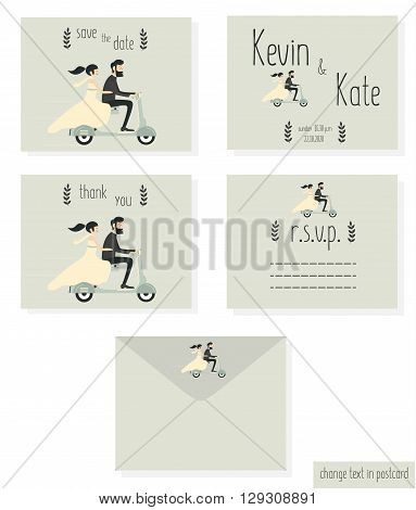 Just married wedding couple riding bicycle, wedding invitation cards set