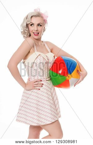 Beautiful Happy Blonde With Beachball, Isolated On White