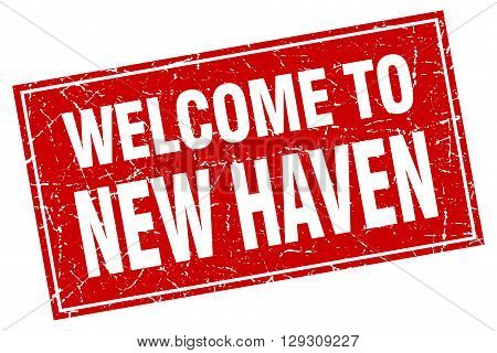 New Haven red square grunge welcome to stamp