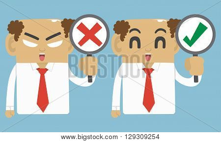 Businessman true and fail symbol , emotion face,vector character