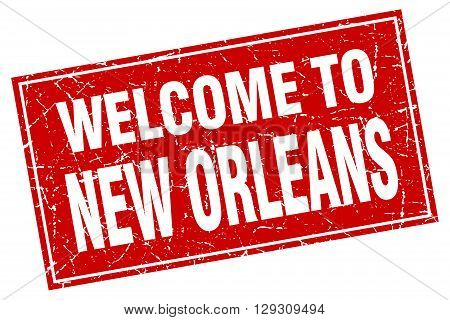 New Orleans red square grunge welcome to stamp