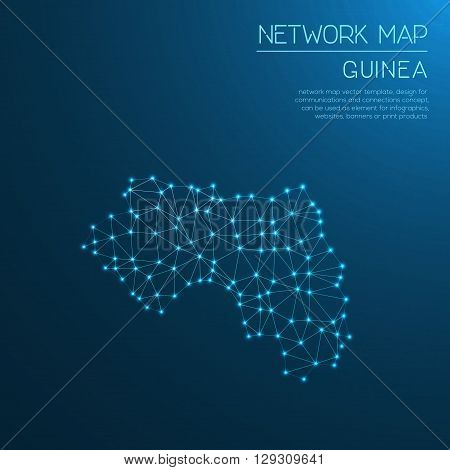 Guinea Network Map. Abstract Polygonal Map Design. Internet Connections Vector Illustration.