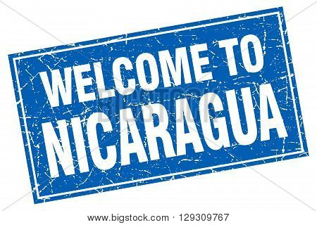Nicaragua blue square grunge welcome to stamp