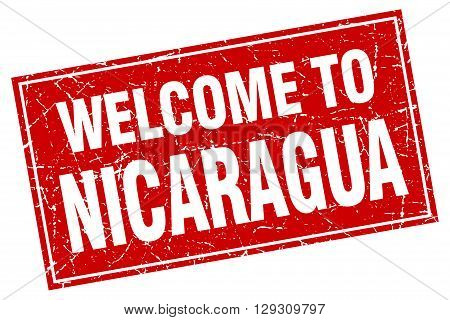 Nicaragua red square grunge welcome to stamp
