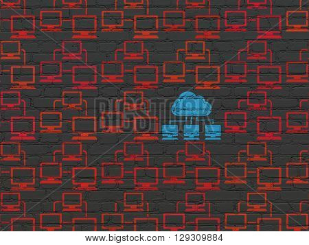 Cloud technology concept: rows of Painted red lan computer network icons around blue cloud network icon on Black Brick wall background