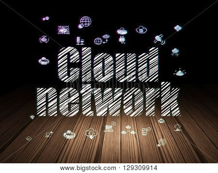 Cloud networking concept: Glowing text Cloud Network,  Hand Drawn Cloud Technology Icons in grunge dark room with Wooden Floor, black background