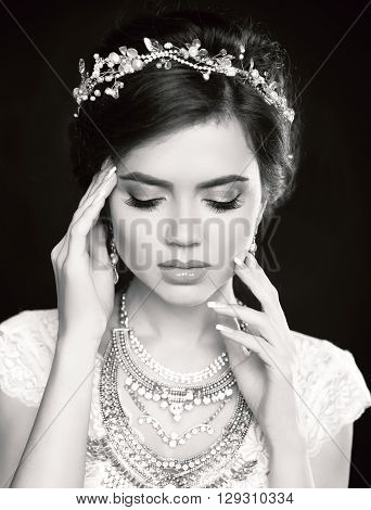 Portrait Of Beautiful Fashion Bride Girl Model Portrait. Makeup. Luxury Jewelry. Black And White Stu