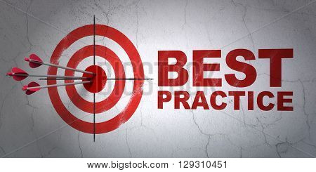 Success Education concept: arrows hitting the center of target, Red Best Practice on wall background, 3D rendering