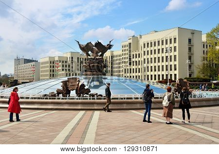MINSK BELARUS - JULY 30 2015: Central part of Minsk at spring day fountain and parliament building on the Independence square