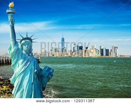 new york cityscape, tourism concept photograph state of liberty, lower manhattan skyline