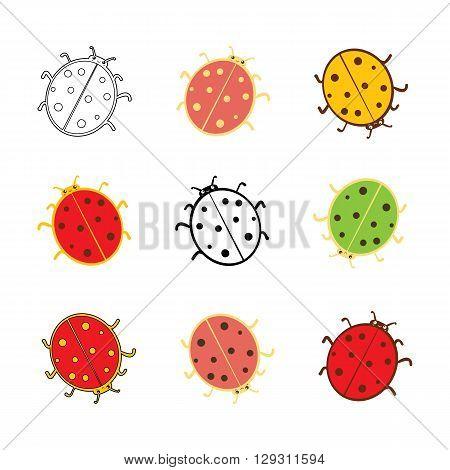 Cute ladybugs icon set. Flat isolated vector illustration.