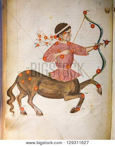 PRAGUE CZECH REPUBLIC - APRIL 4 2016: Depiction of the constellation Sagittarius in an antique astrology text in the Library of Prague Czech Republic.