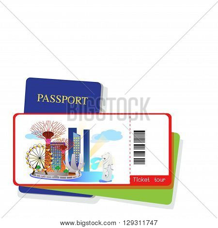 Passport and singapore tourist ticket on white background.