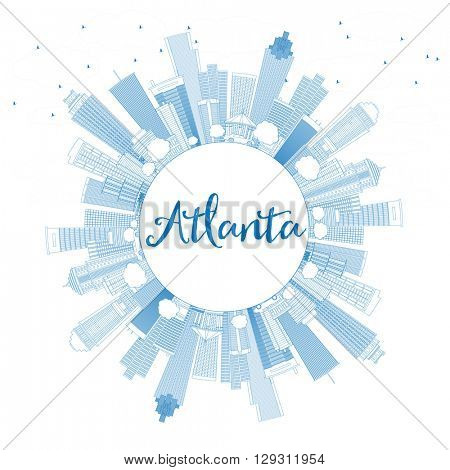 Outline Atlanta Skyline with Blue Buildings and Copy Space. Business Travel and Tourism Concept with Modern Buildings. Image for Presentation Banner Placard and Web Site.