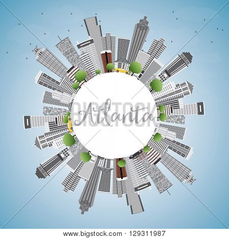 Atlanta Skyline with Gray Buildings, Blue Sky and Copy Space. Business Travel and Tourism Concept with Modern Buildings. Image for Presentation Banner Placard and Web Site.
