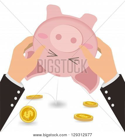 Businessman Shaking Money Coin Out of Cute Piggy Bank Business Concept