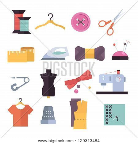 Knitting, sewing and needlework flat icons. Knitting items, sewing equipment and needlework elements