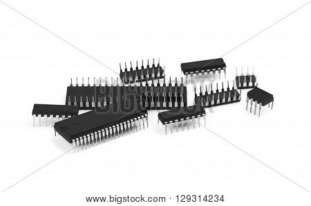 New microchips isolated on a white background