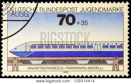 MOSCOW RUSSIA - MAY 09 2016: A stamp printed in Germany shows high-speed electric passenger train