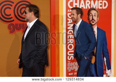LOS ANGELES - MAY 10:  Russell Crowe, Ryan Gosling at the The Nice Guys Premiere at the TCL Chinese Theater IMAX on May 10, 2016 in Los Angeles, CA