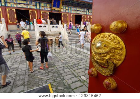 BEIJING, CHINA - AUGUST 19: visit on August 19, 2008 in Beijing: tourists visit Temple of Heaven, Tiantan Gongyuan Park, Beijing, China.