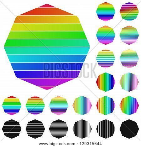 Set of rainbow octagon logo icon designs