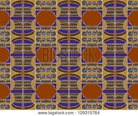 Abstract geometric seamless background, drawing. Regular hexagon and spiral pattern with wiggly lines in brown shades with black and purple elements and white outlines.