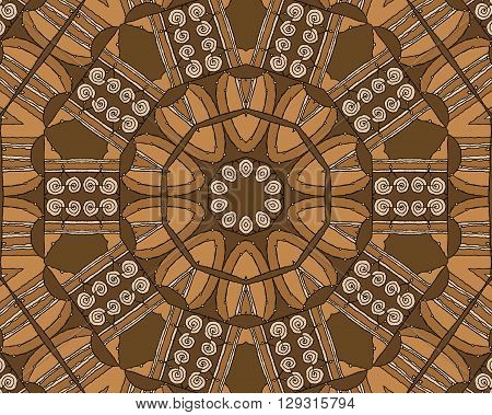 Abstract geometric seamless background. Concentric circle ornament with beige spiral pattern and elements in ocher and brown shades with black outlines, drawing.