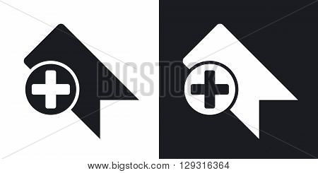 Vector bookmark icon. Two-tone version on black and white background