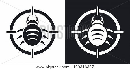 Vector bug target icon. Two-tone version on black and white background