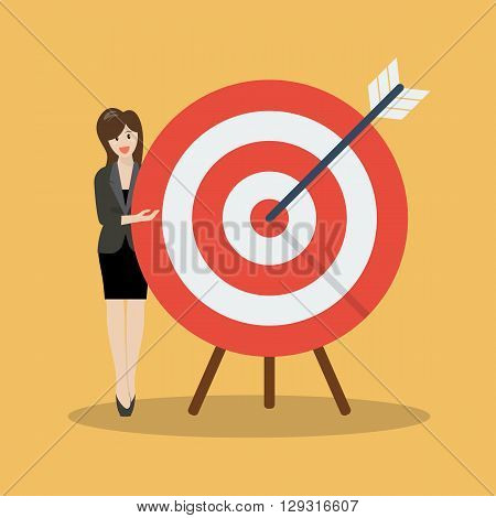 Business woman pointing to the big target. vector illustration